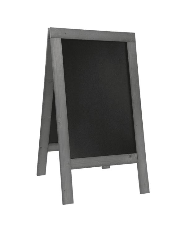 grosser Holz Kundenstopper mit grauem Holzrahmen und schwarzer beschriftbarer Kreidetafel