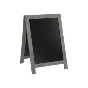 kleiner Holzauftsteller mit Holzrahmen in Grau und schwarzer Kreidetafel, Securit Kundenstopper aus Holz in Grau