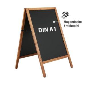 Holz Kundenstopper DIN A1 mit magnetischer Kreidetafel