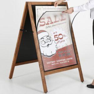 Kundenstopper aus Holz DIN A1 Plakatständer Holz Wetterfest