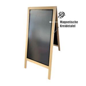 Holz Kundenstopper mit magnetischer Kreidetafel 110x54cm
