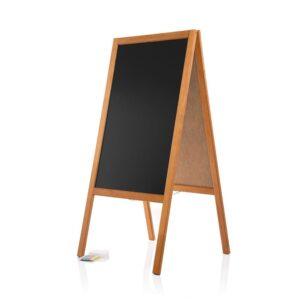 Holz Kundenstopper Gehwegkreidetafel mit Holzrahmen hellbraun 120cm