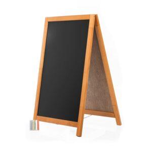 günstige Gehweg Kreidetafel mit Holzrahmen hellbraun für Gastronomen als Menütafel oder Kundenstopper