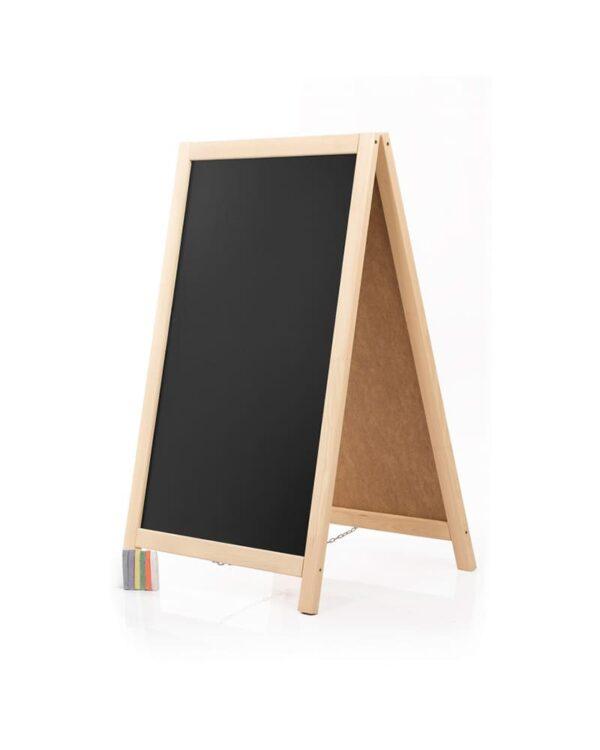 günstiger Holz Kundenstopper mit Kreidetafel in Naturholzfarbe hell für Gastronomie und Einzelhandel