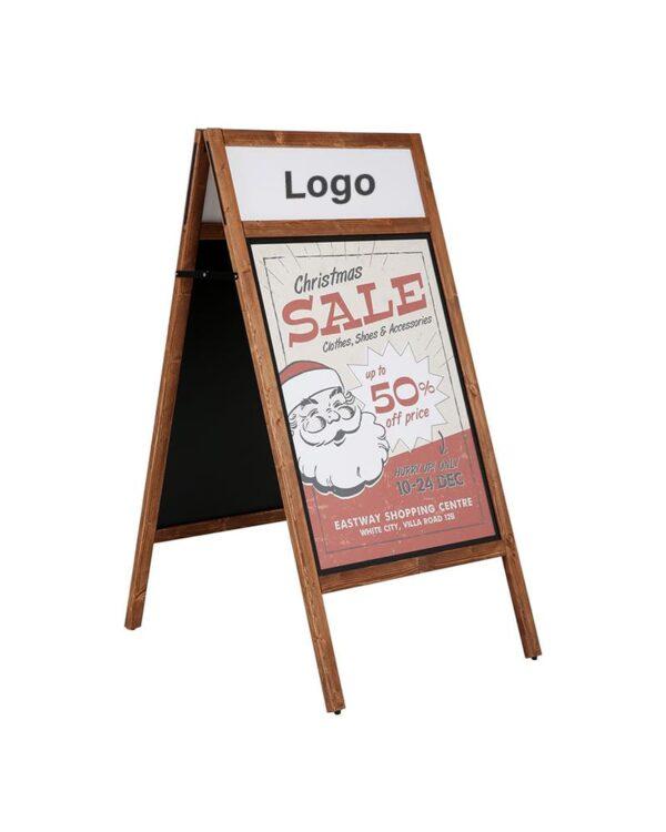 Holz Kundenstopper mit Logoschild und magnetischer Plakatfläche