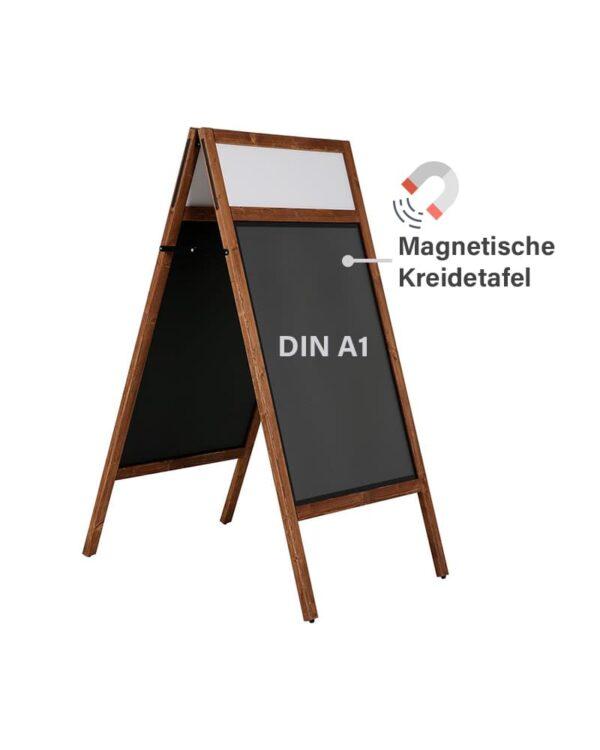 Magnetische Gehwegkreidetafel aus Holz mit Logoschild